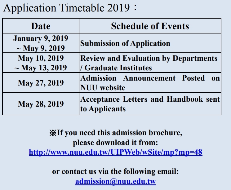 Application Timetable 2019